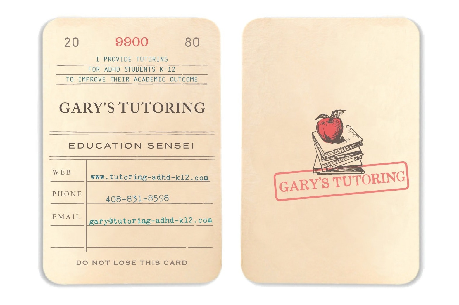 Report card business card