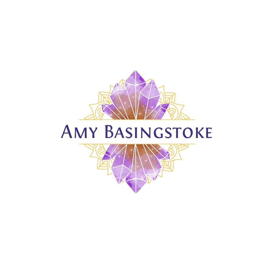 "purple crystals with the text ""Amy Basingstoke"""