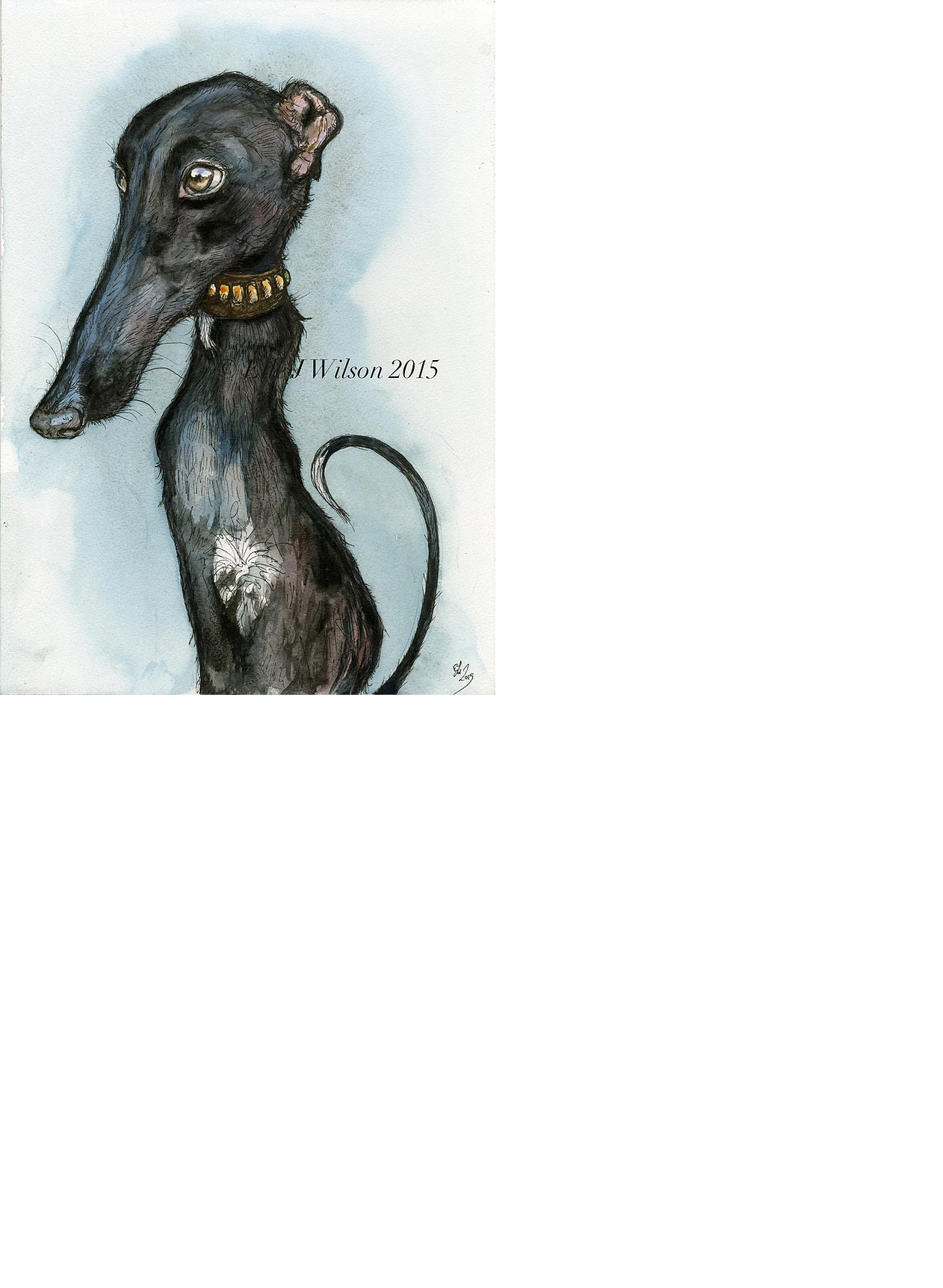 stylized greyhound portrait