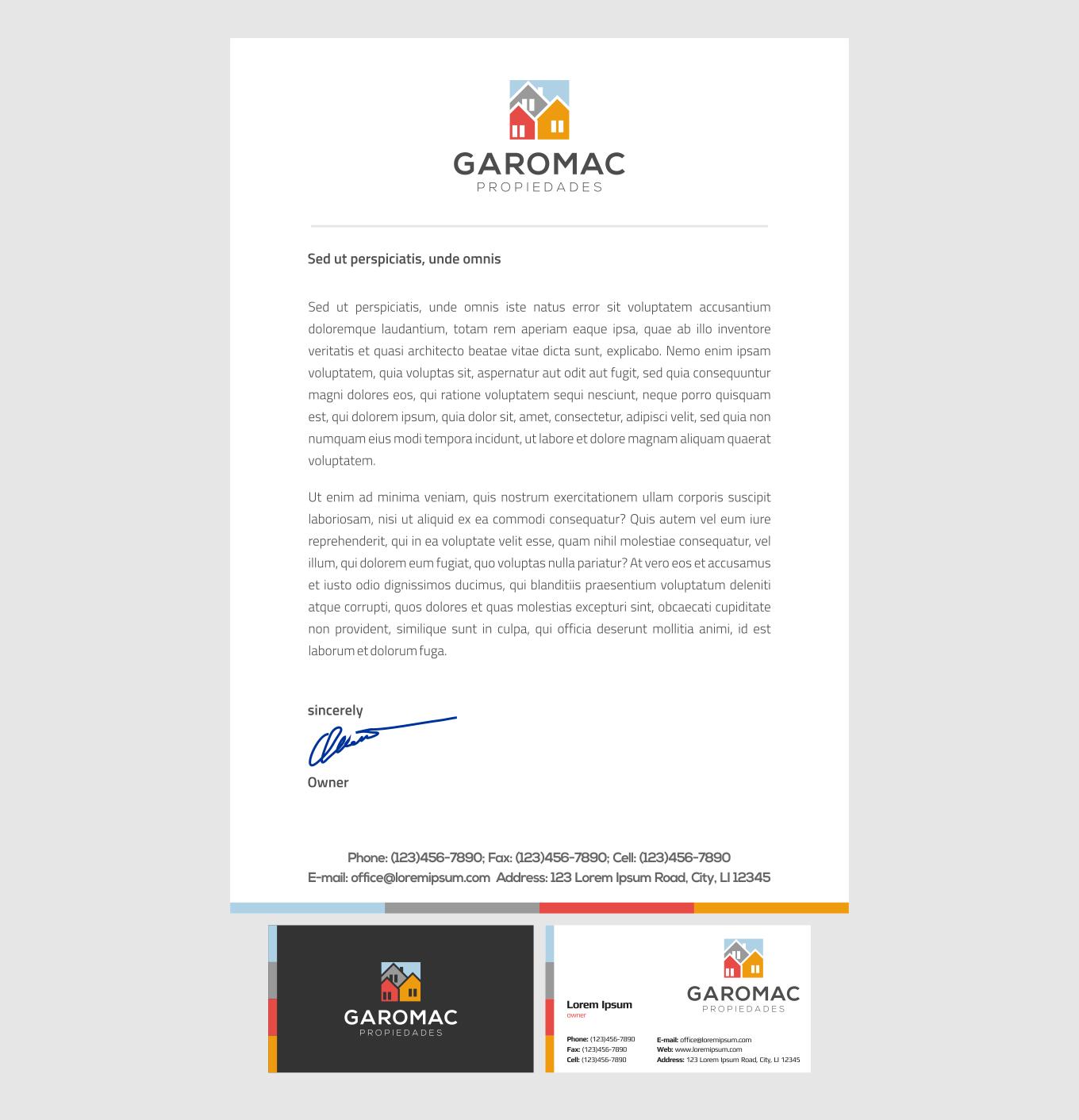 Garomac Propiedades business card