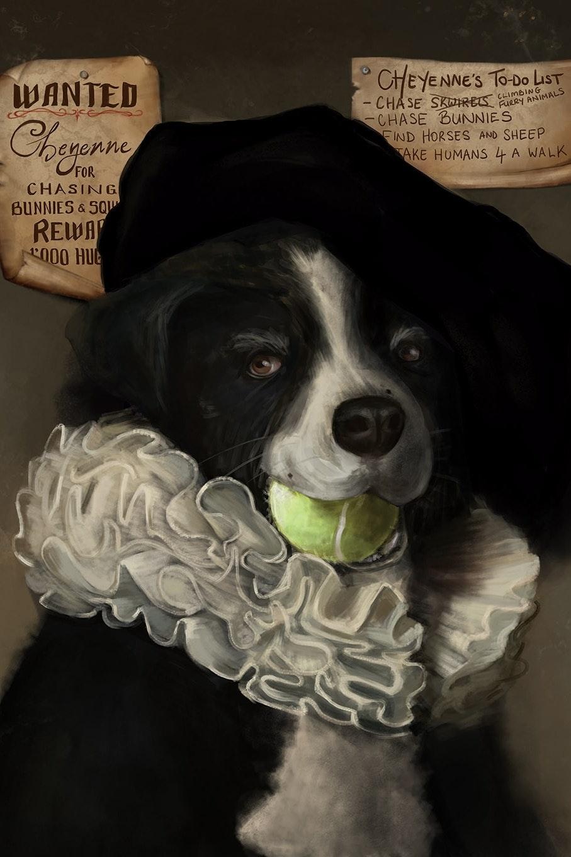 Rembrandt style dog portrait