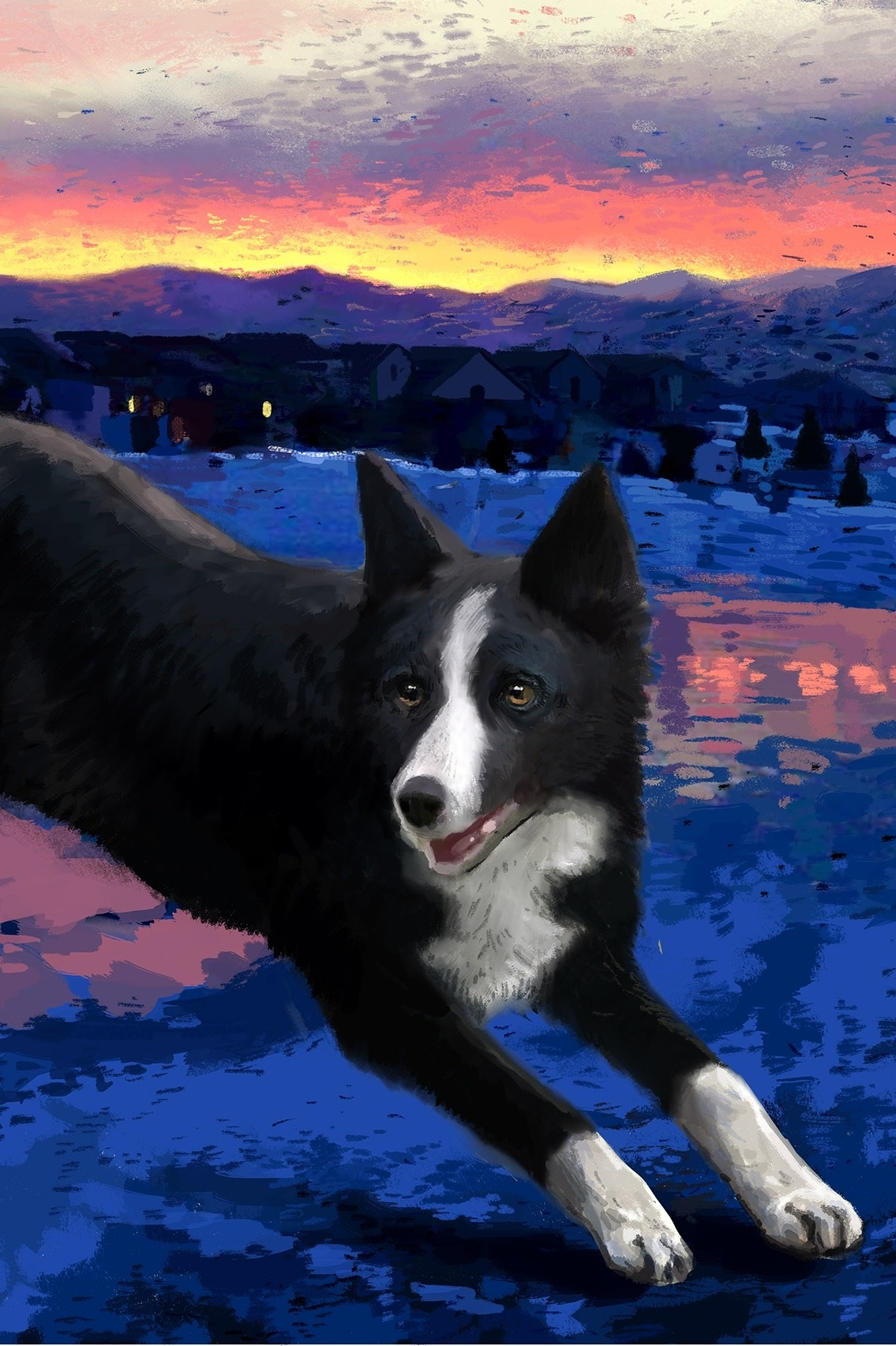 border collie with mountains illustration