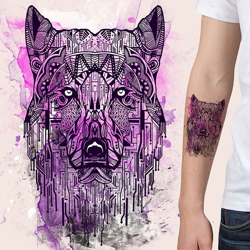 purple watercolor and geometric wolf tattoo