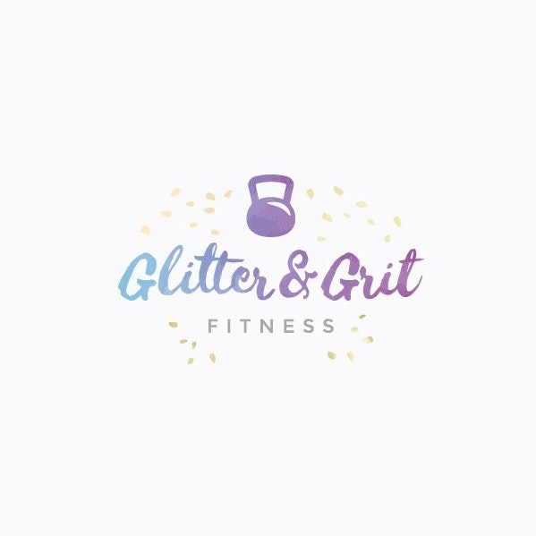 "purple and blue gradient kettle bell image with the text ""glitter and grit fitness:"