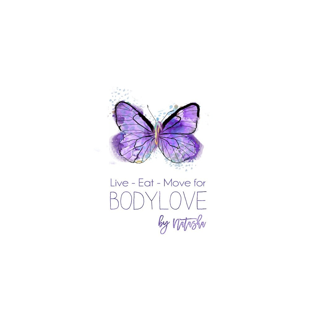 "purple butterfly with the text ""live-eat-move for body love"""