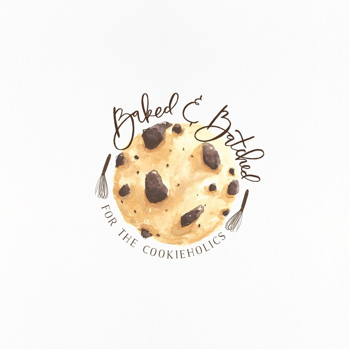 "chocolate chip cookie image with the text ""baked and batched"""