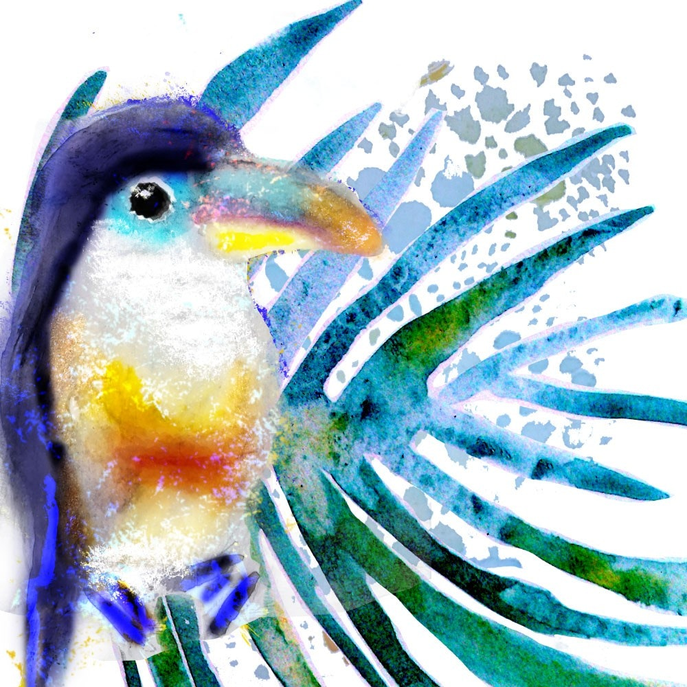 watercolor bird portrait