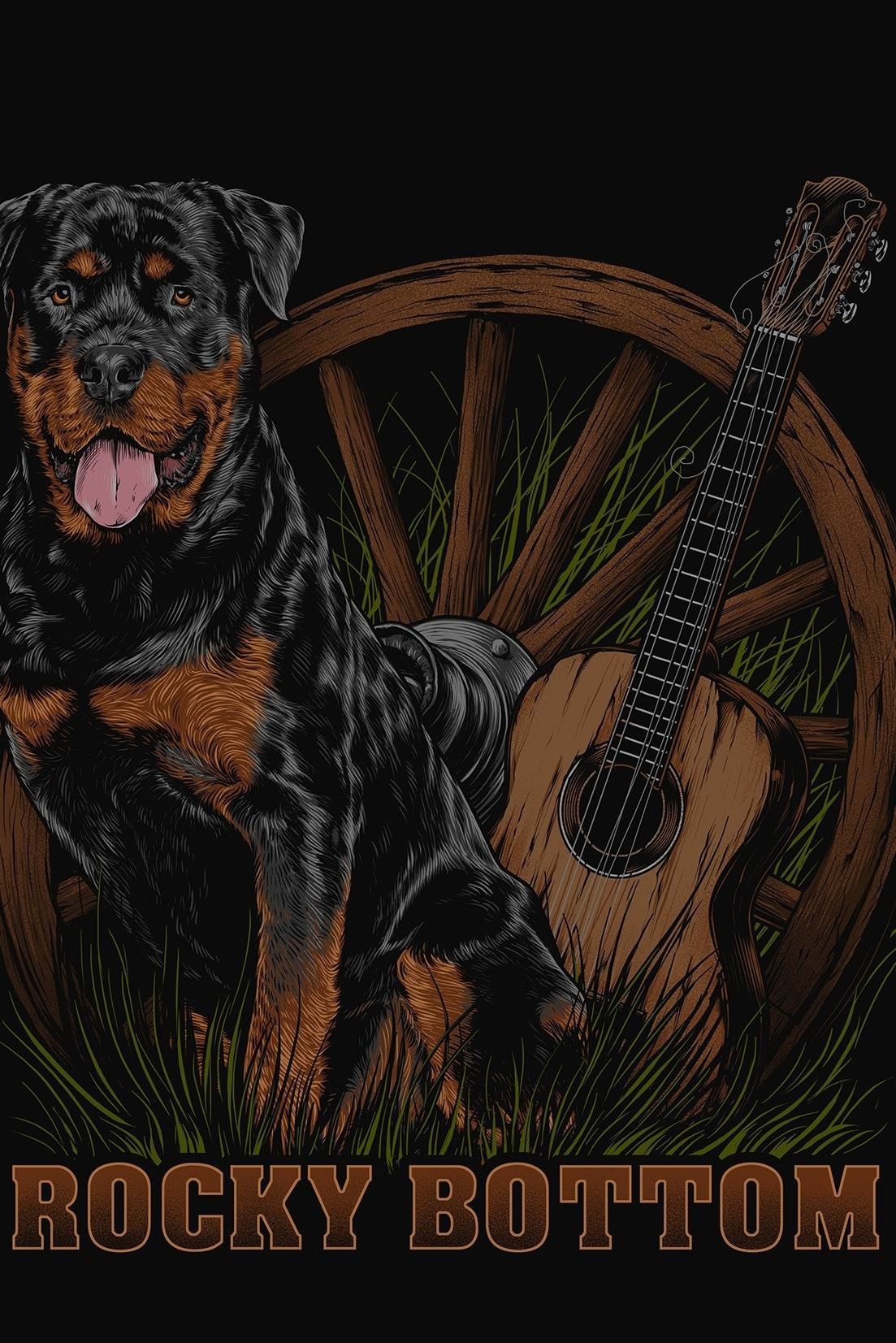 rottweiler and guitar