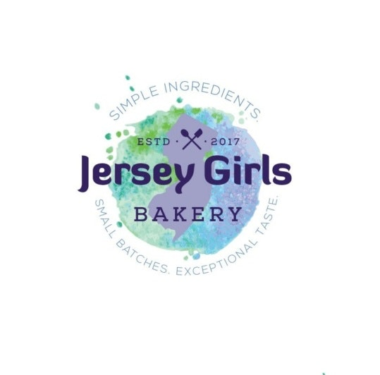 "green, blue and purple gradient background behind a purple New Jersey state outline and the text ""Jersey Girls Bakery"""