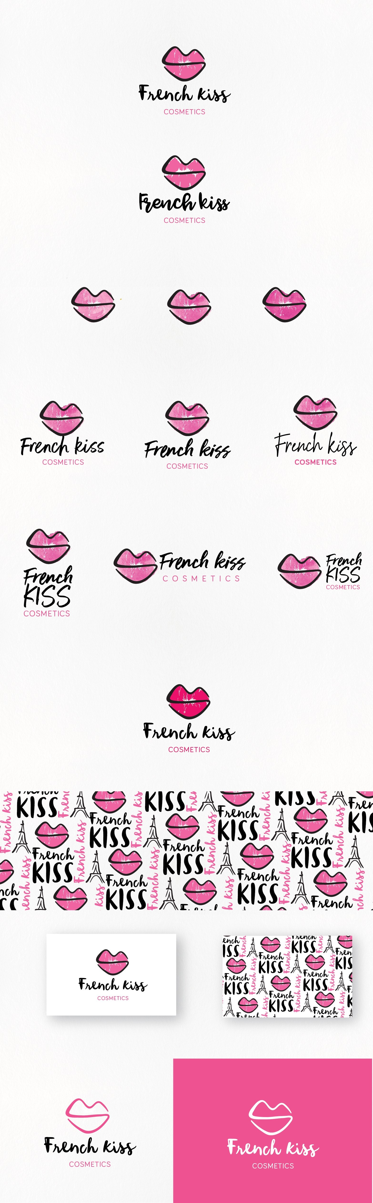"Pink lips outlined in black with the text ""French Kiss cosmetics"""