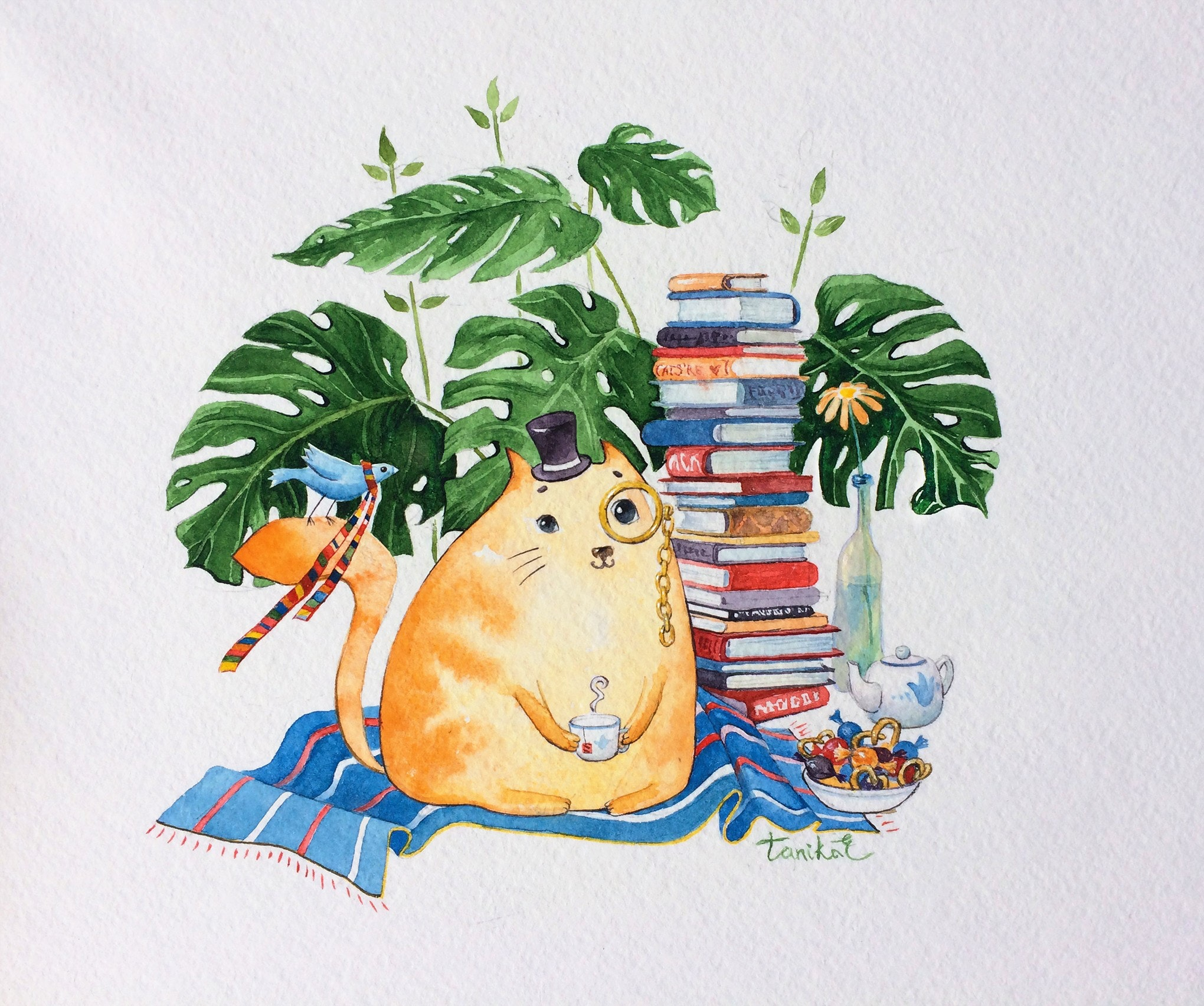 watercolor fat cat