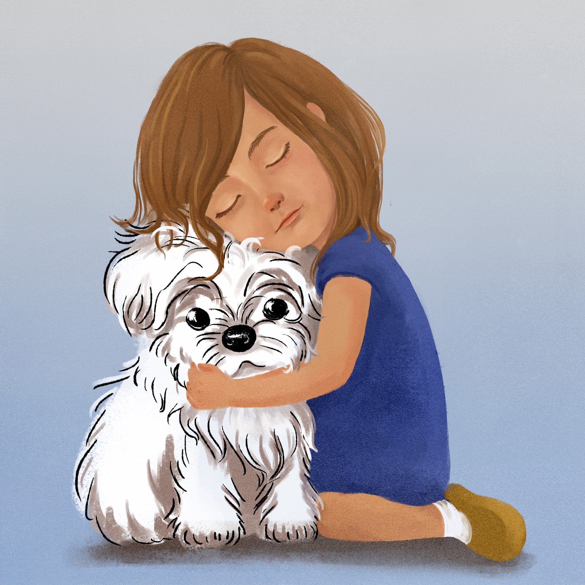 girl hugging puppy