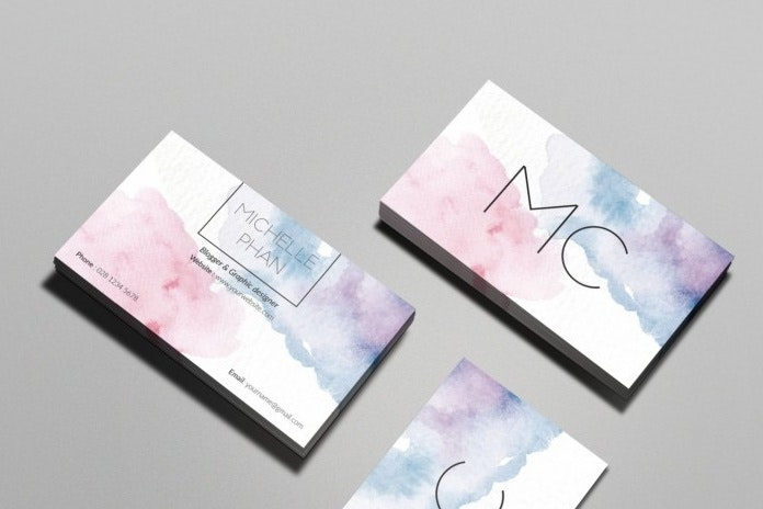 Hungry Jpeg watercolor business card