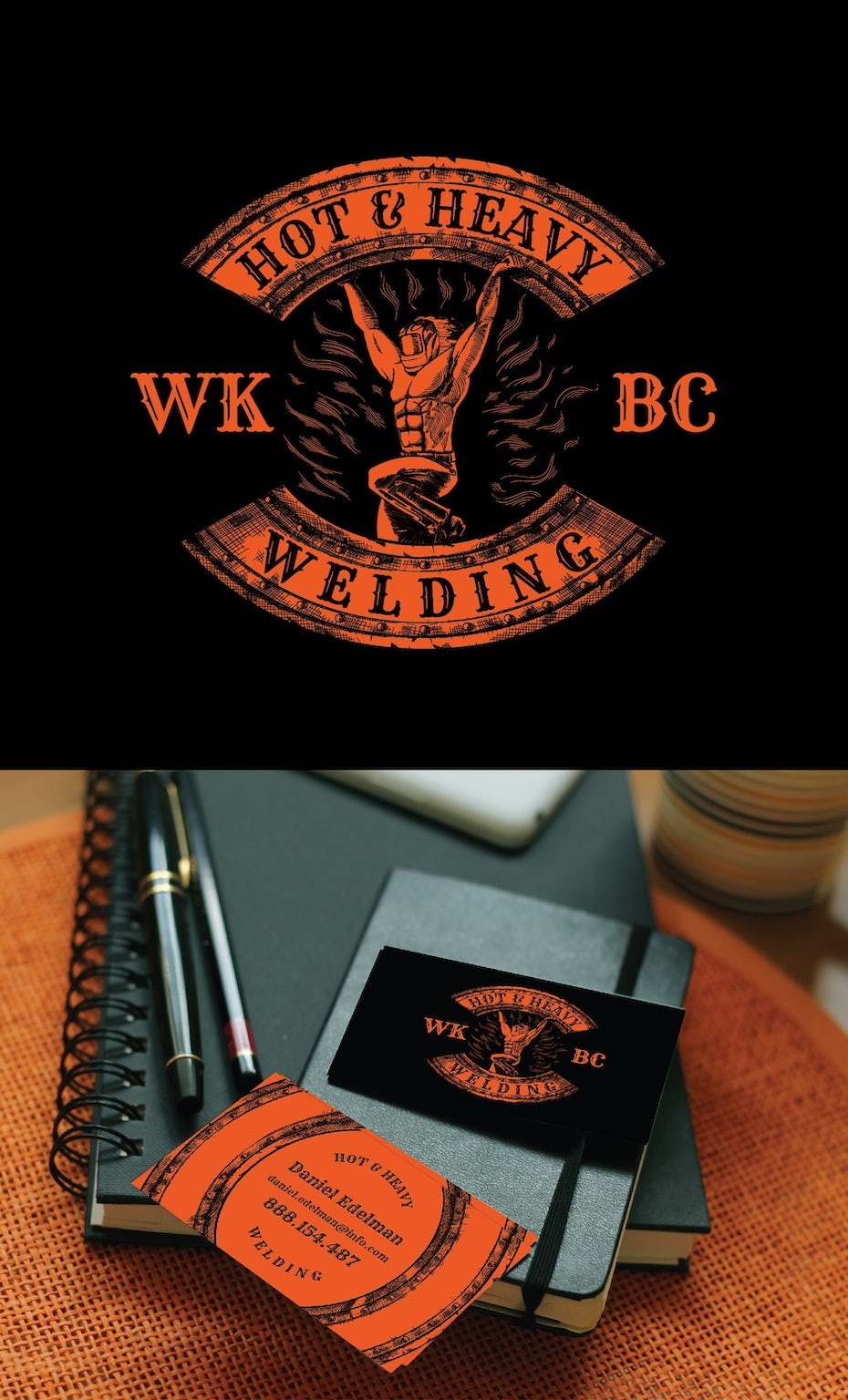 Logo and business card design for a portable welding company