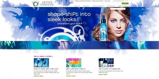 Herbal Essences watercolor web page