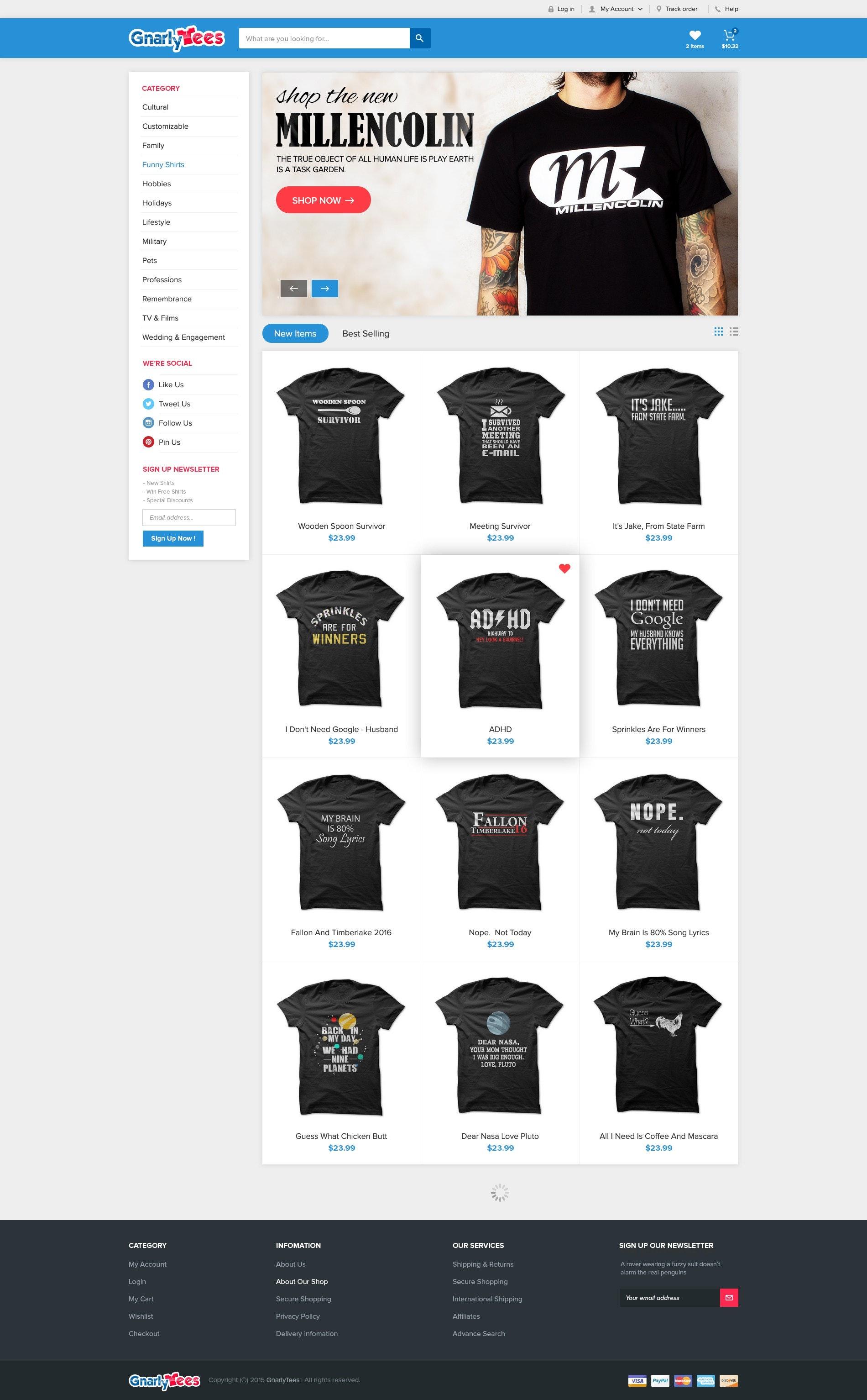 Gnarly Tees website design