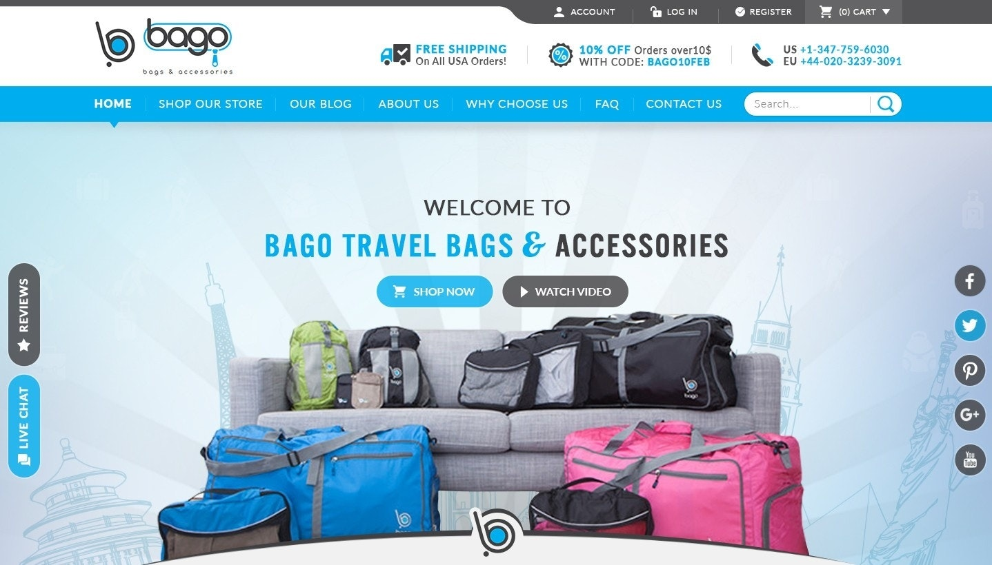 Bago Travel Bags website design