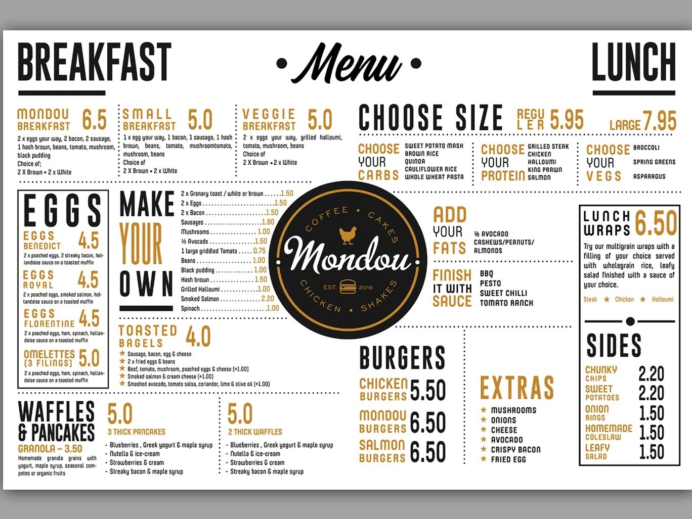 A typographic menu design