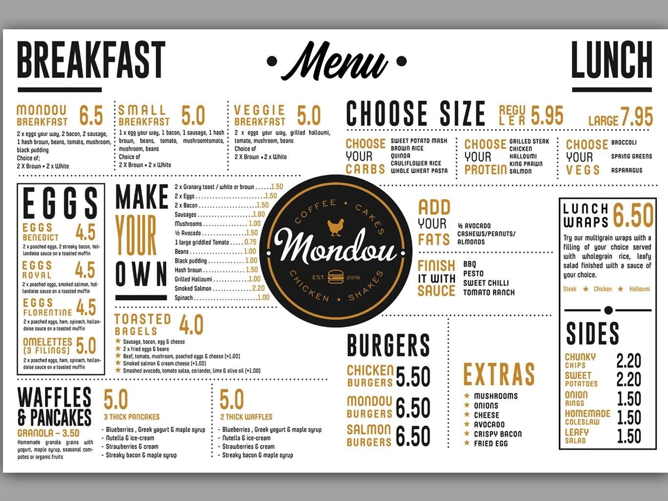A typographic menu design