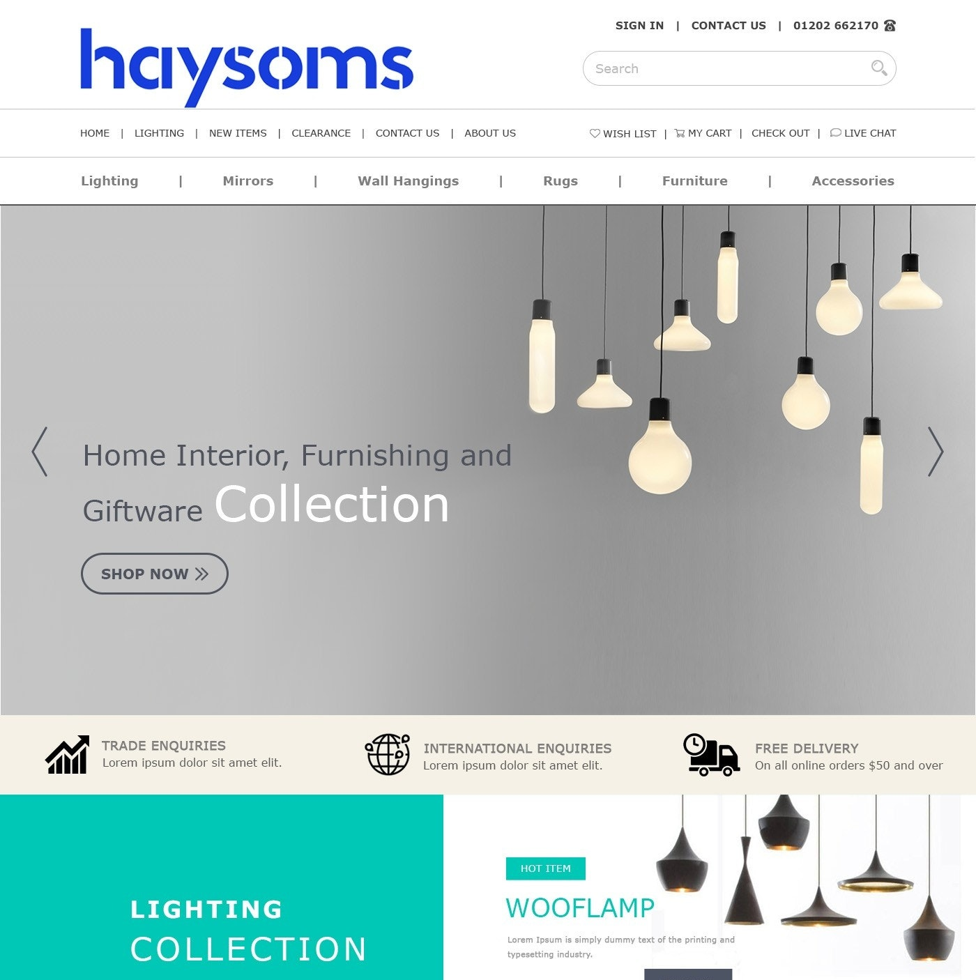 Lighting website design