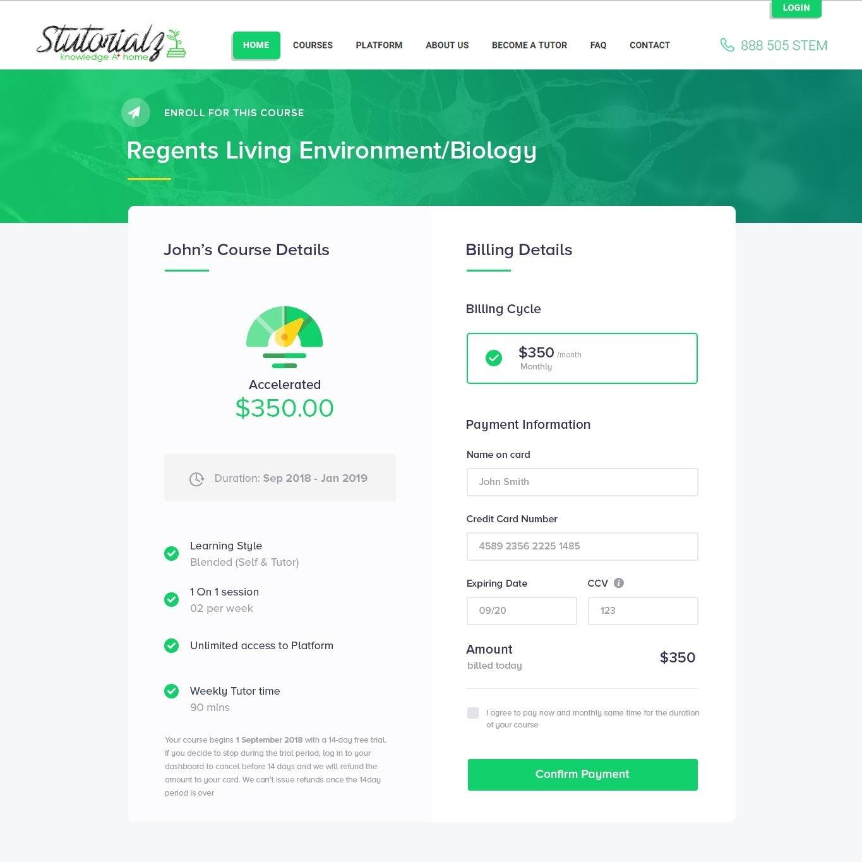 Online course checkout page design
