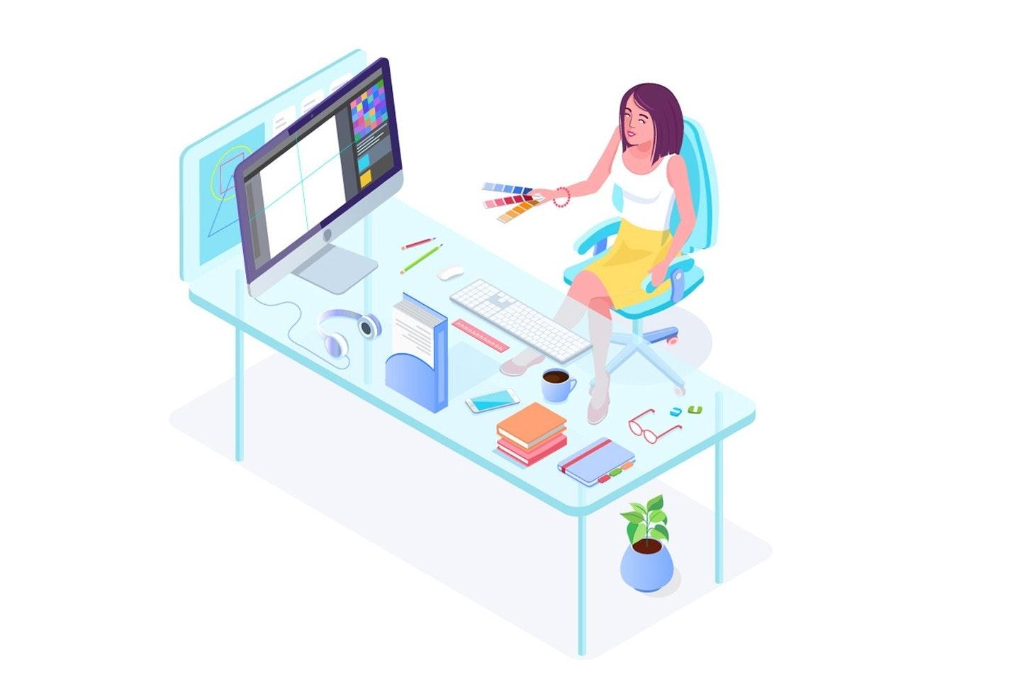 Hombre sentado en el escritorio con la computadora