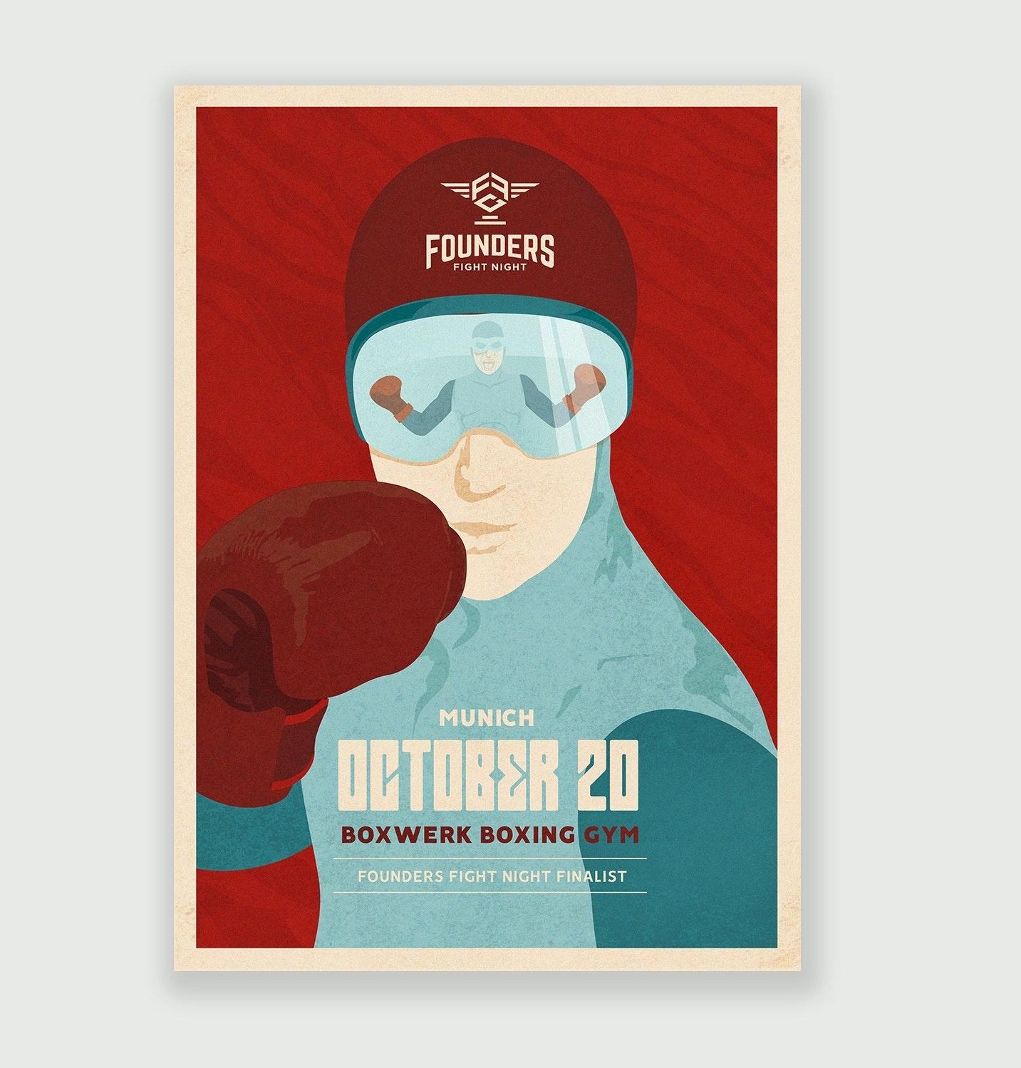 Retro-futuristic boxing poster