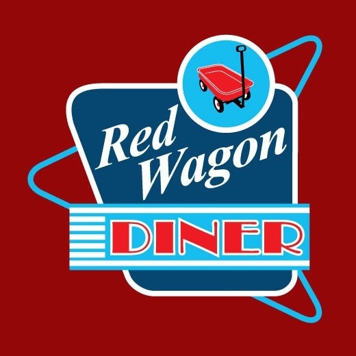 "Blue square on a red background with an image of a wagon and the text ""Red Wagon Diner"""