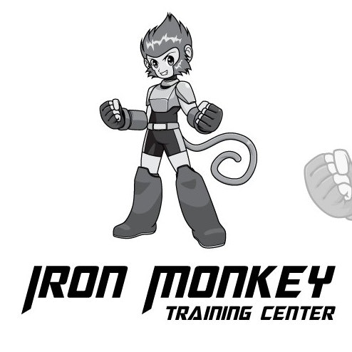 "Monkey robot figure with the text ""Iron Monkey training center"""