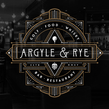 "Numerous iterations of a geometric ""Argyle and Rye"" logo"