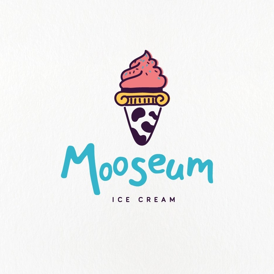 Ice cream cone with a spotted cow pattern
