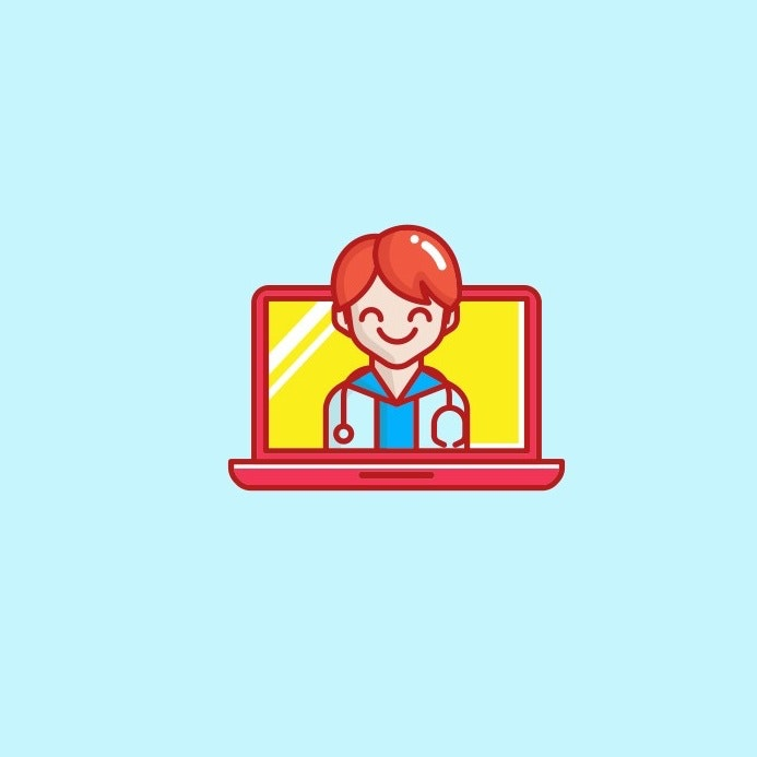Open laptop with a smiling doctor on the screen