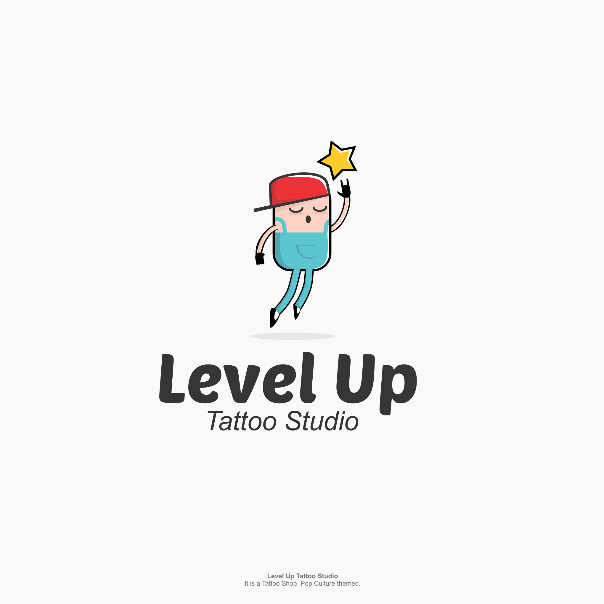"Figure reaching for a star with the text ""level up tattoo studio"""