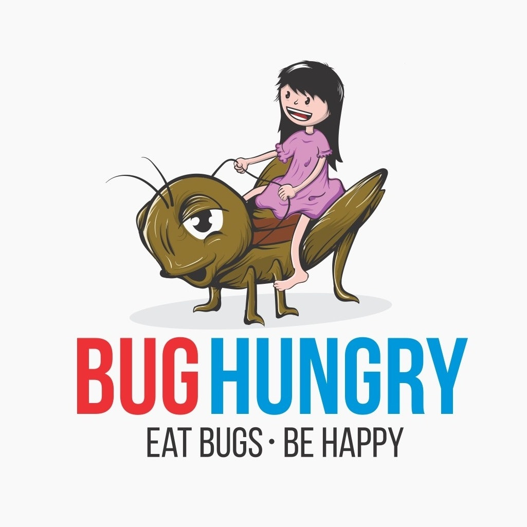 "Girl riding a grasshopper with the text ""bug hungry. Eat bugs be happy"""