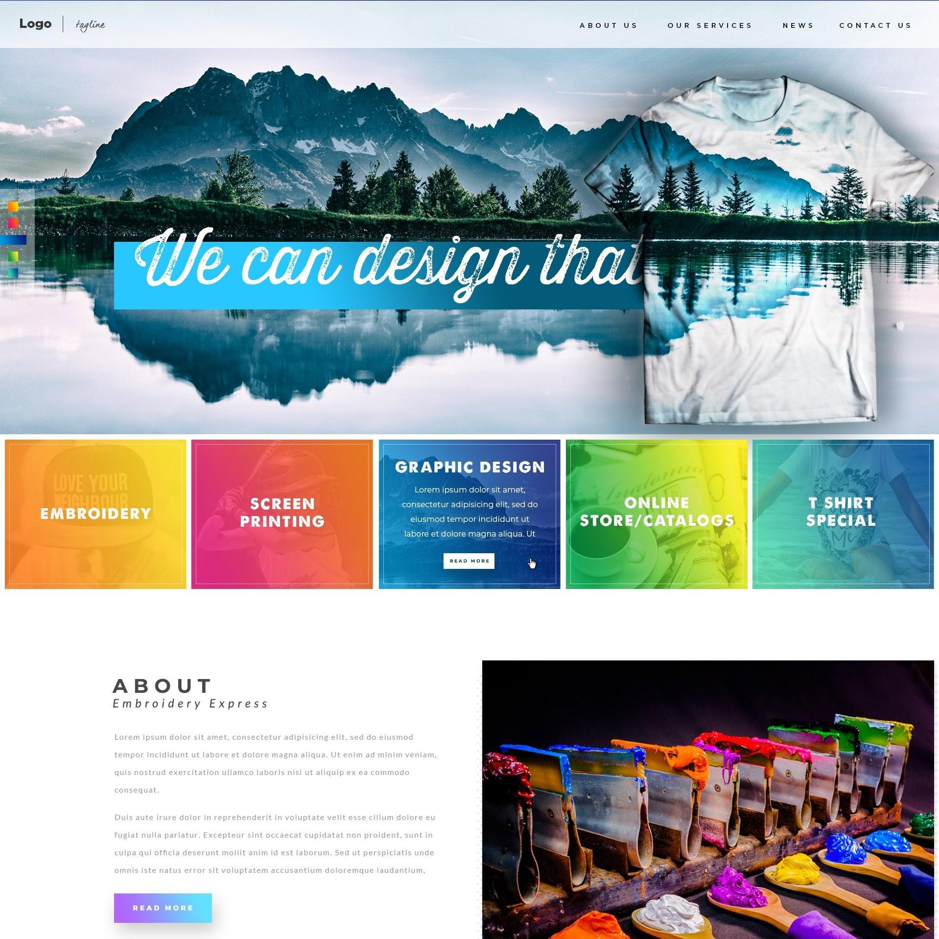Diseño del sitio web de Printing Apparel Company