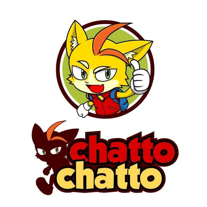 """Multiple images of a fox figure with the text """"chatto chatto"""""""