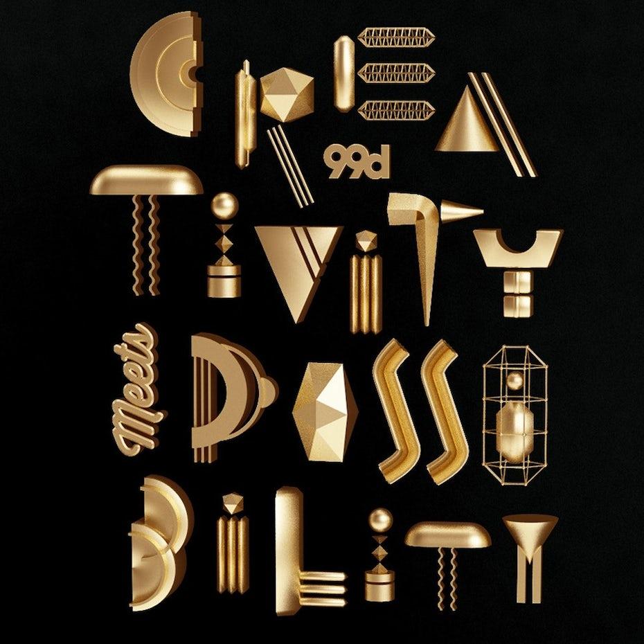 A creative and fun metallic poster