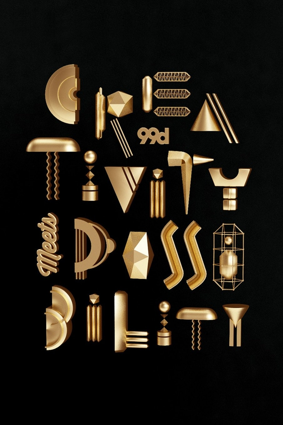 A creative and fun metallic poster