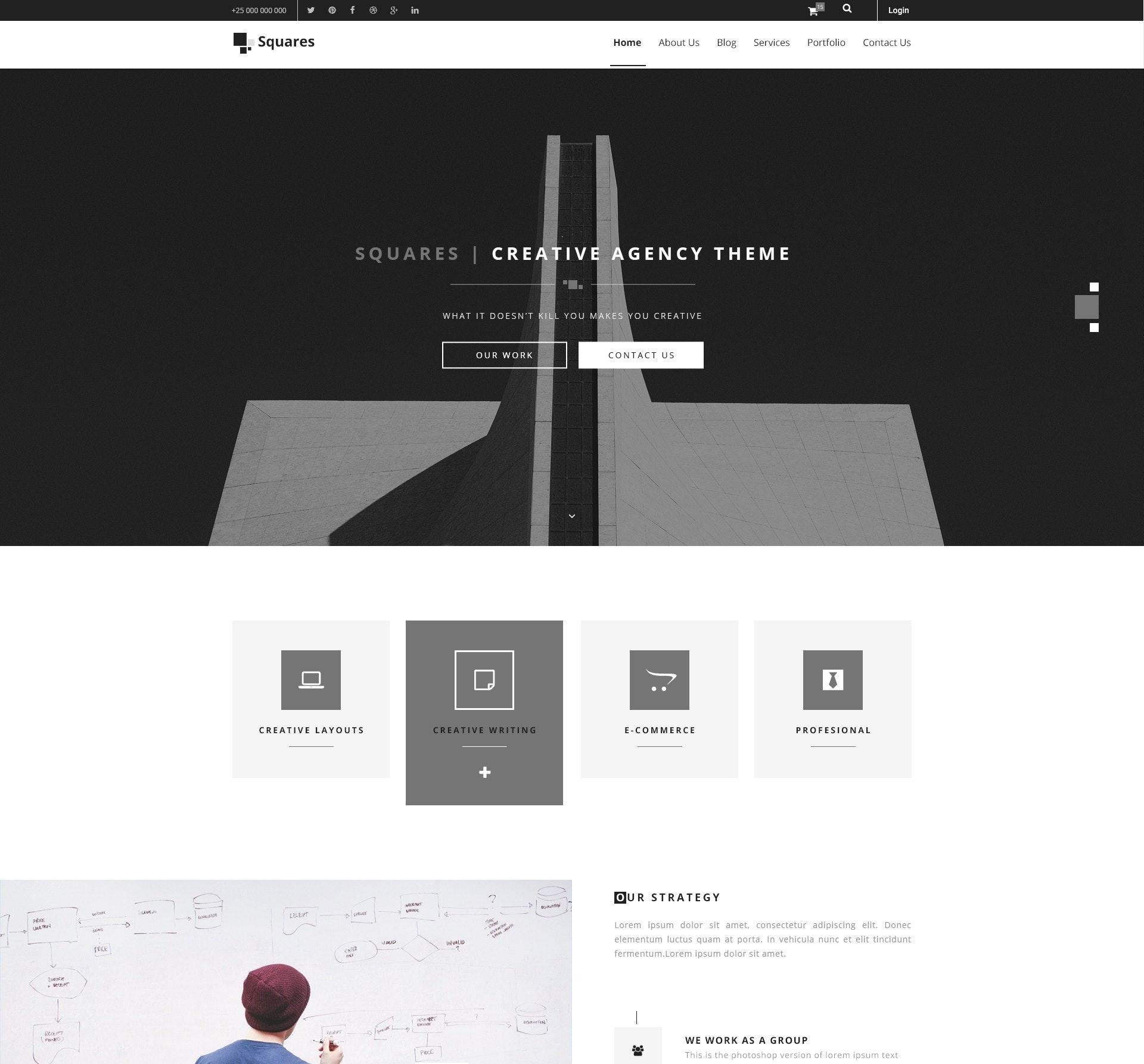 simple black and white web design