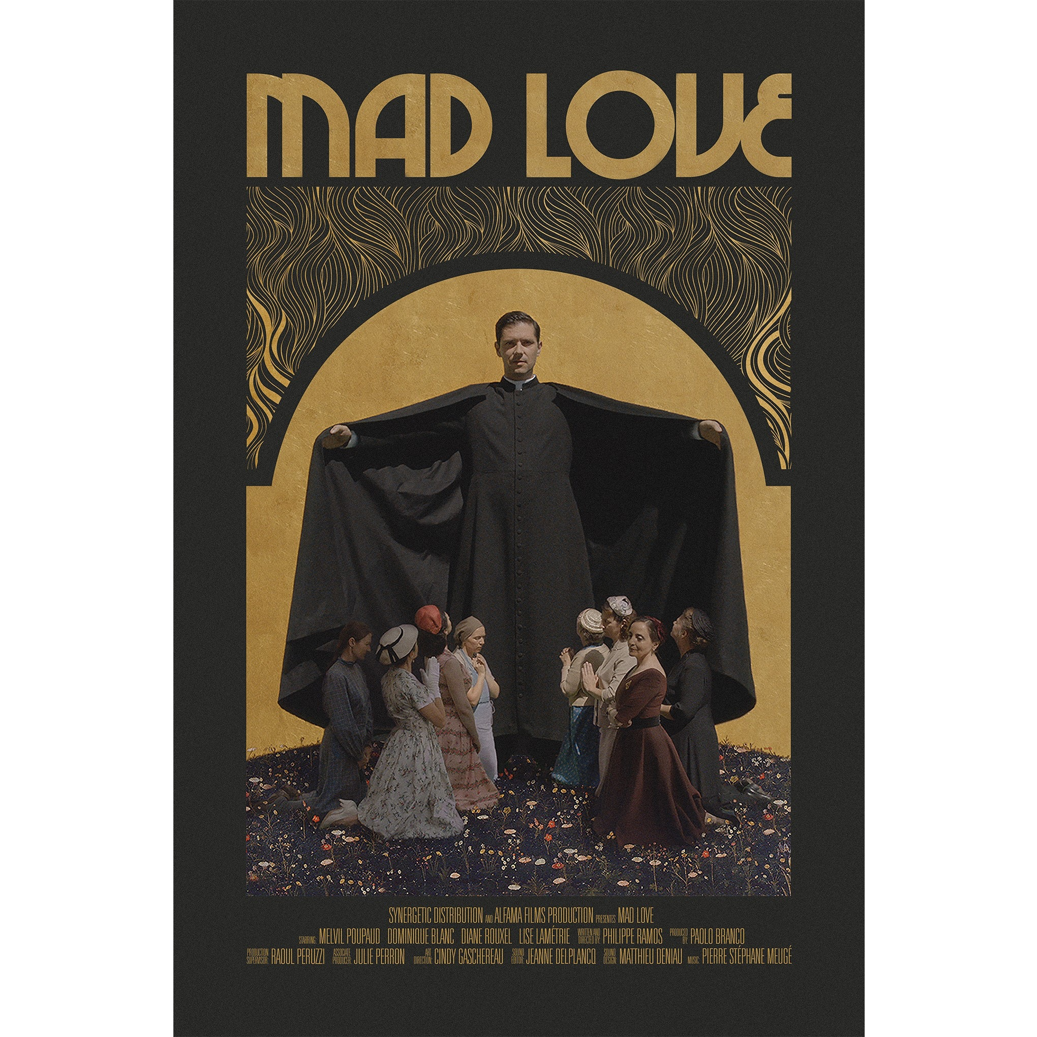 "Large male figure towering over many smaller female figures under the text ""Mad Love"""