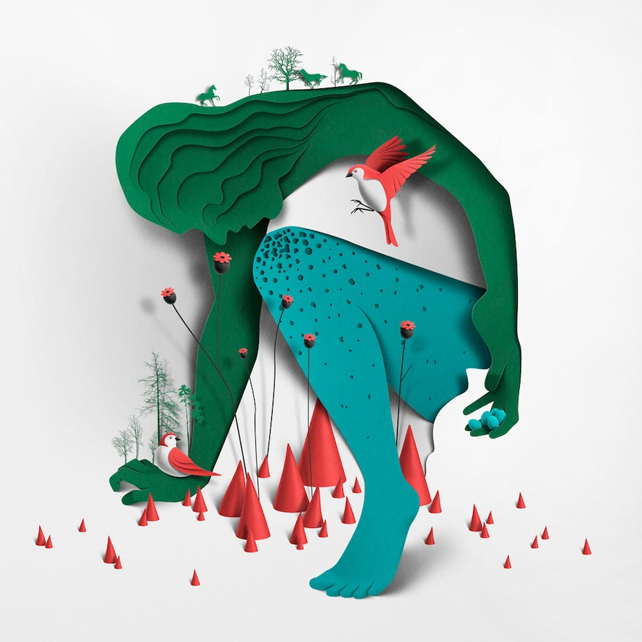 Paper design of green woman