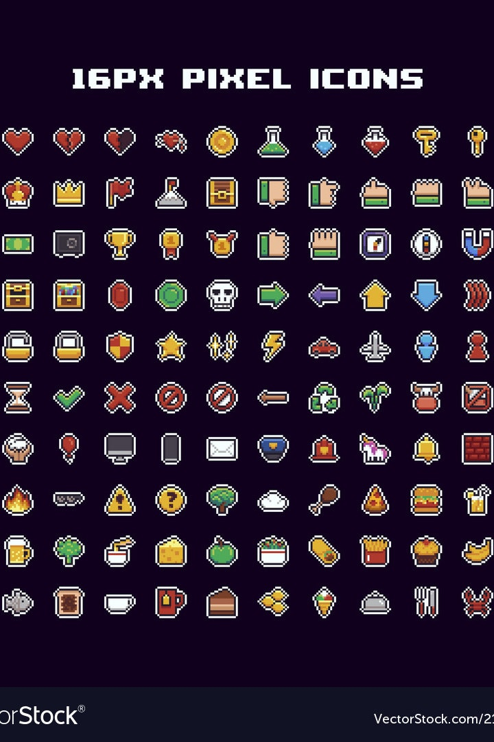 Vector chart of retro video game-inspired icons