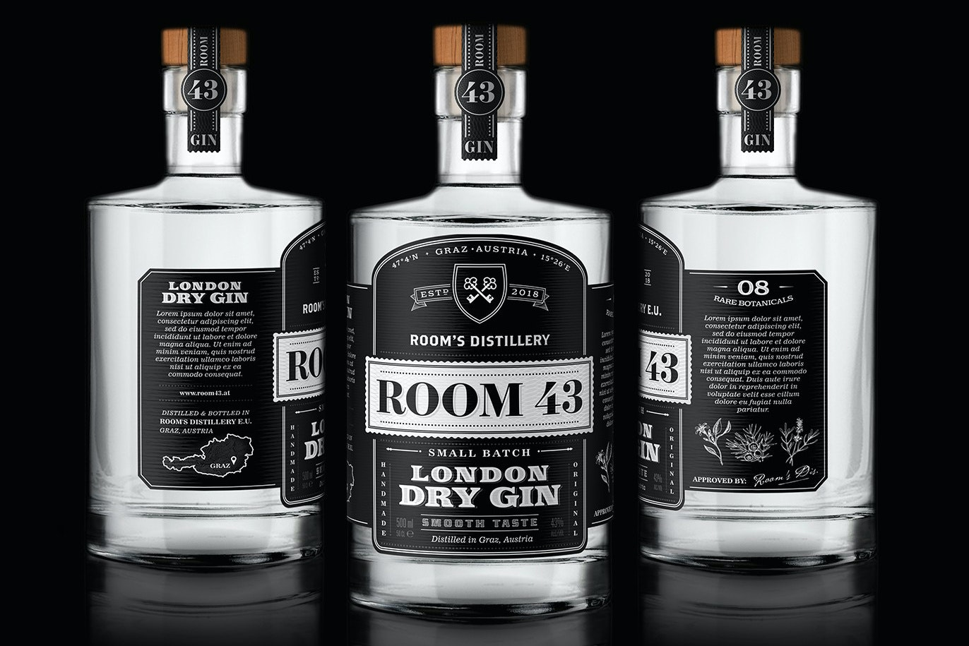 Room 43 gin vintage design