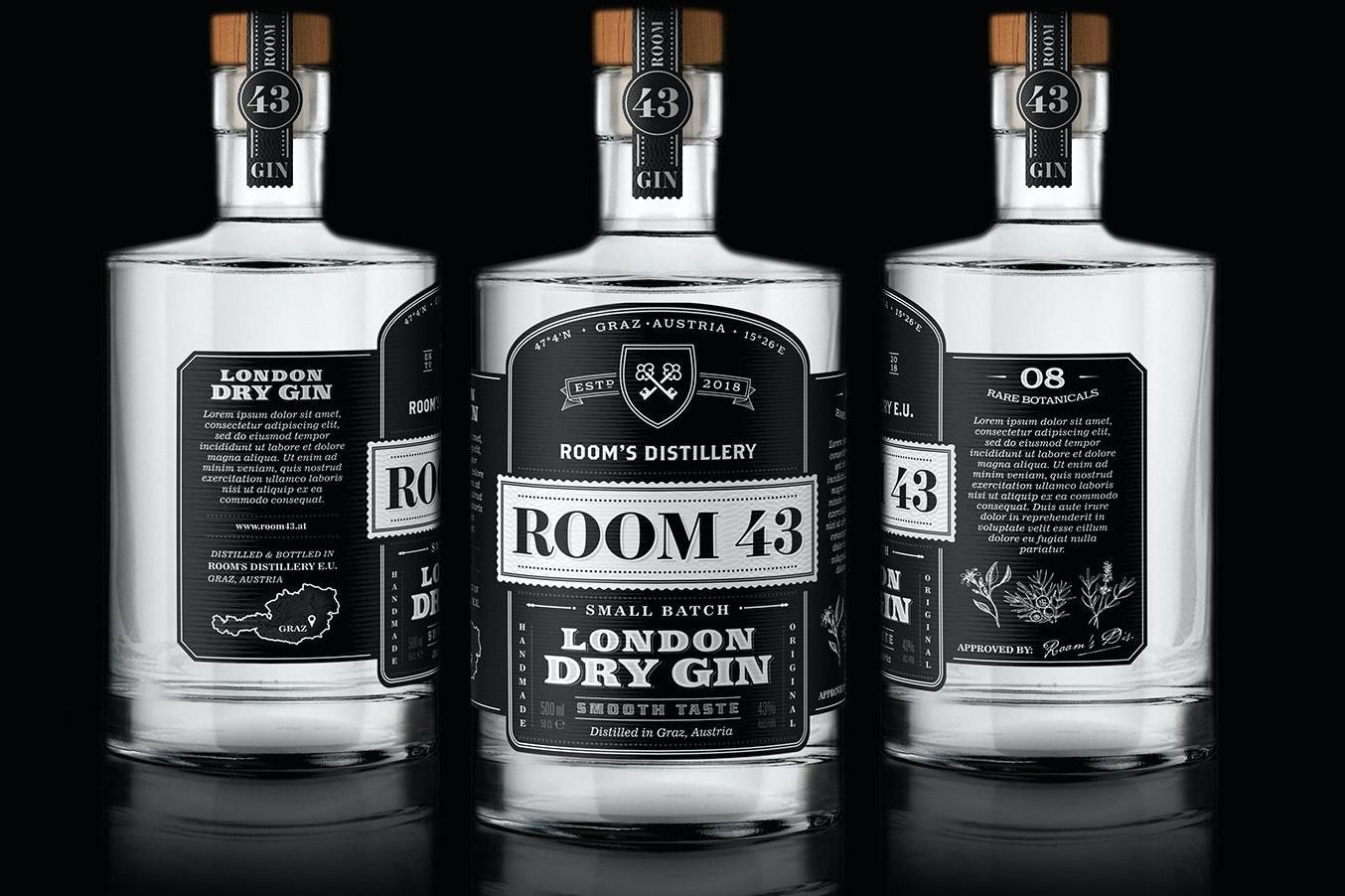 Room 43 gin vintage design