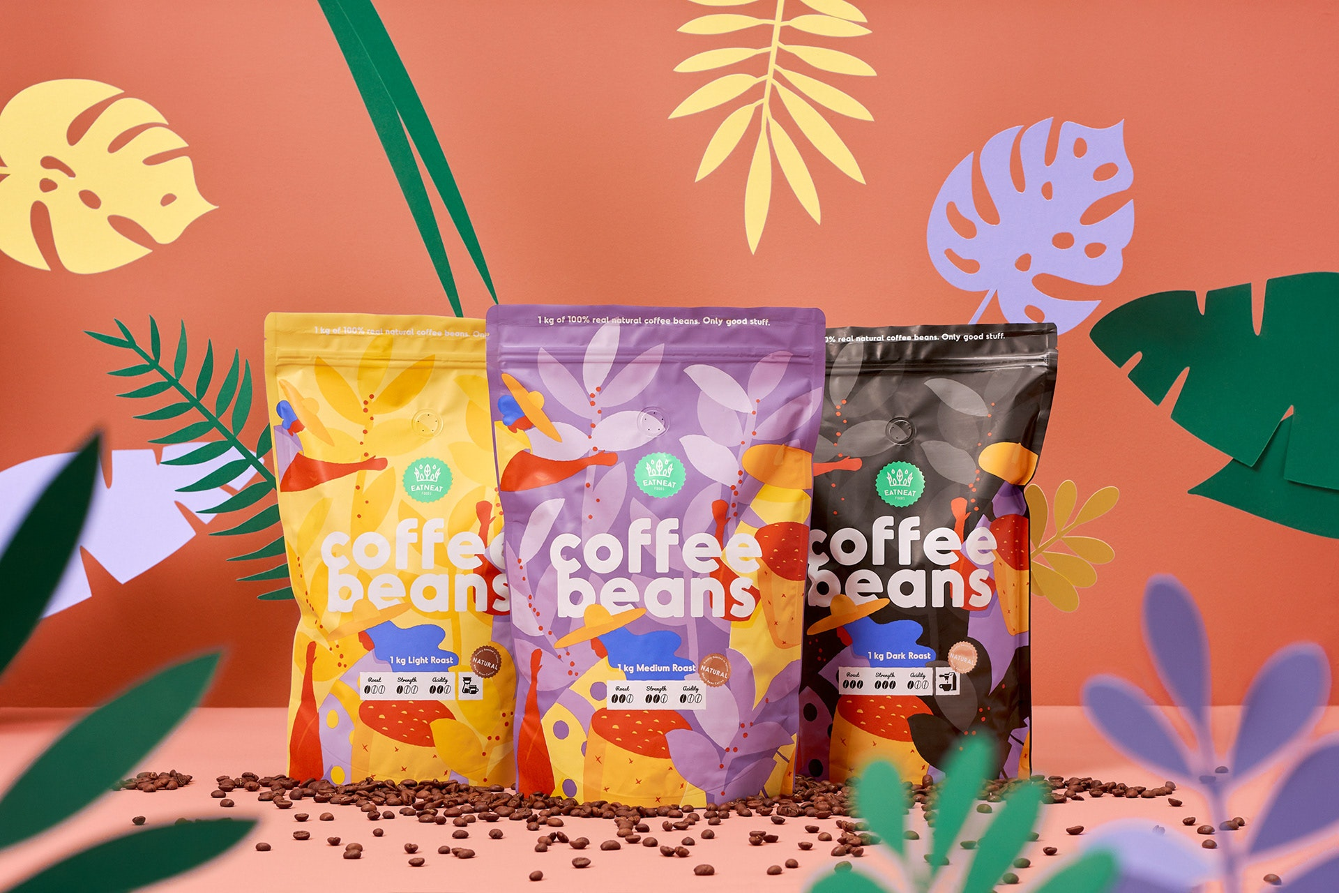 Foliage coffee beans design