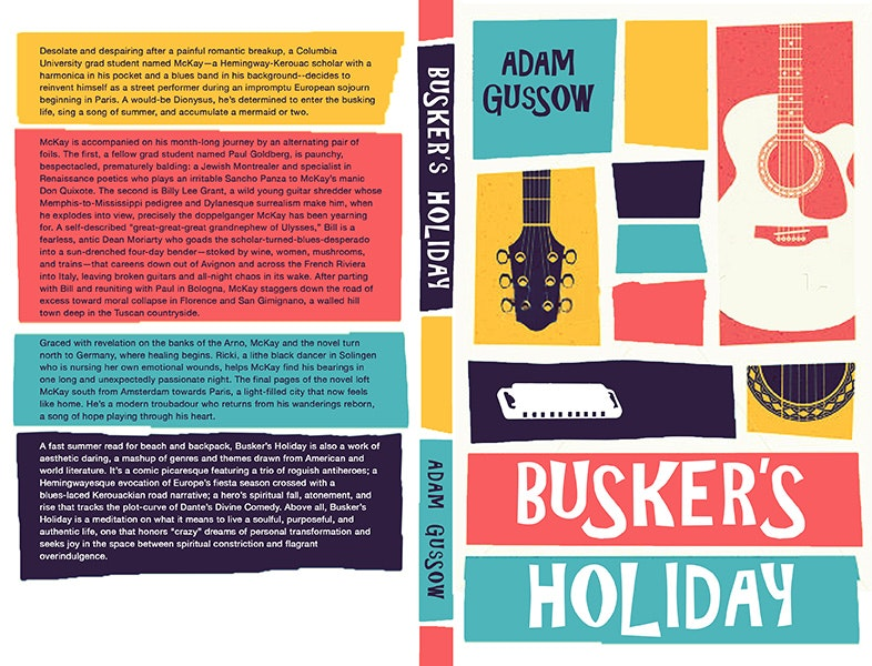 Colorful musical book cover for Buskers Holiday