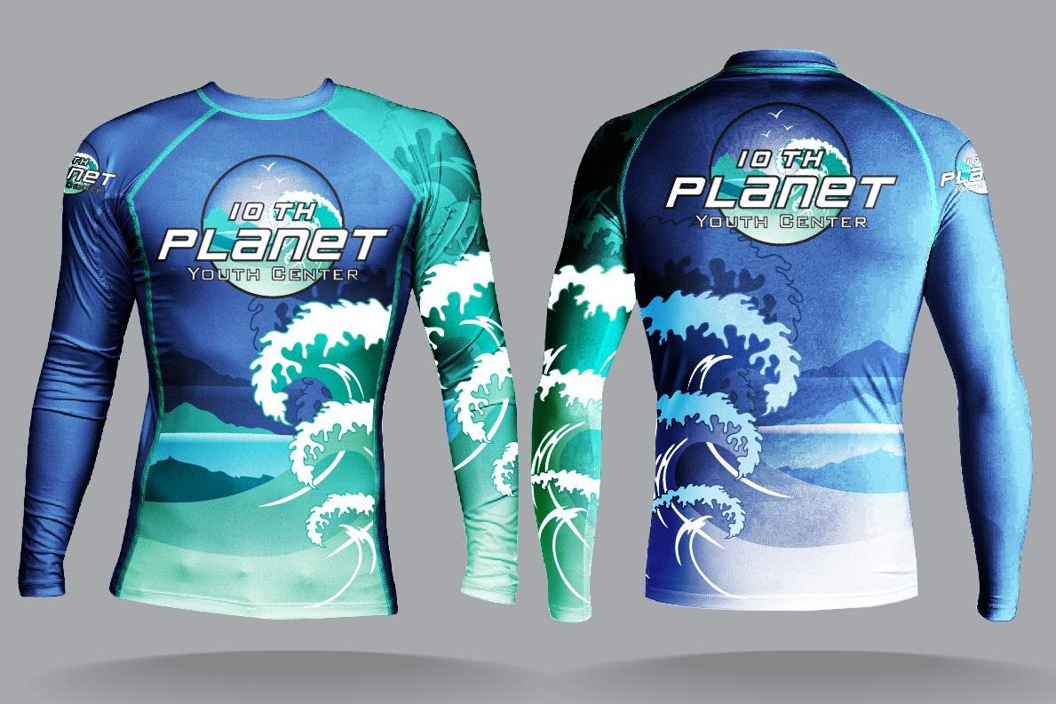 Crashing wave 10th Planet Jiu Jitsu Rash Guard