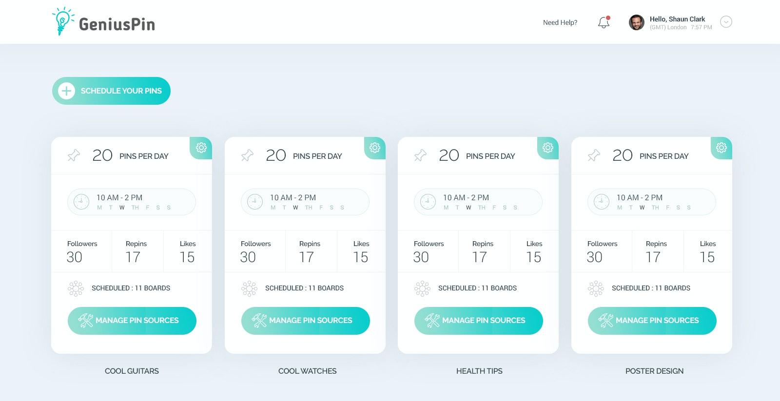 GeniusPin web design