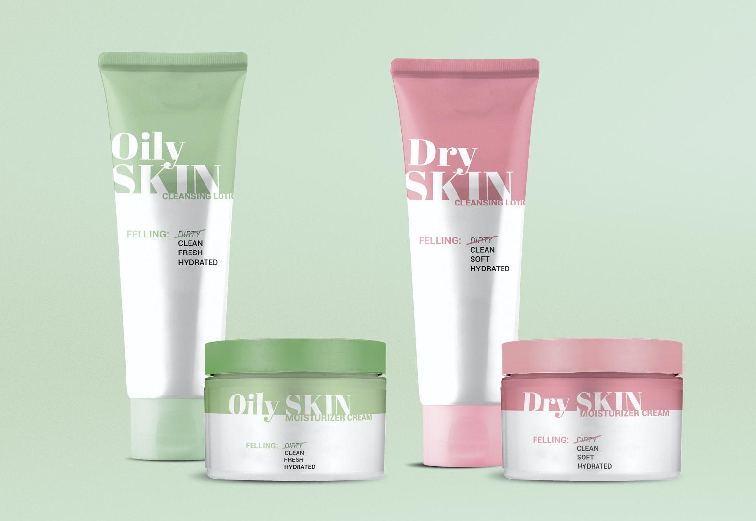 Pastel skincare packaging