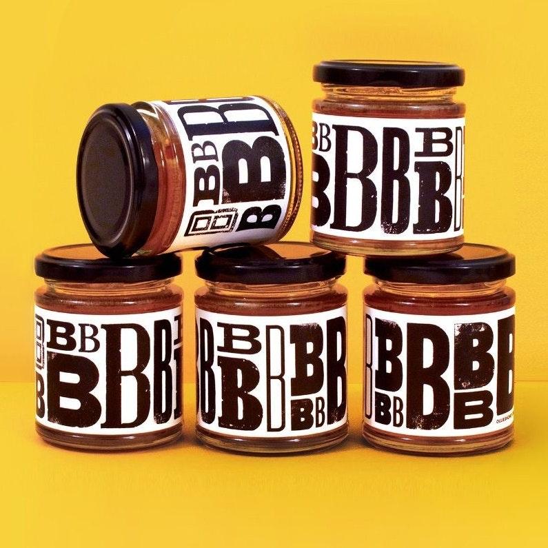 Black & white typographic label design
